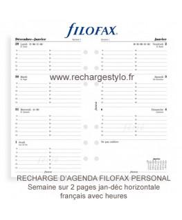Recharge d'Agenda Filofax Personal Une Semaine sur 2 Pages 2017